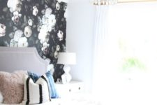 08 a single dark floral wall in a light-filled and cute bedroom is a show-stopper