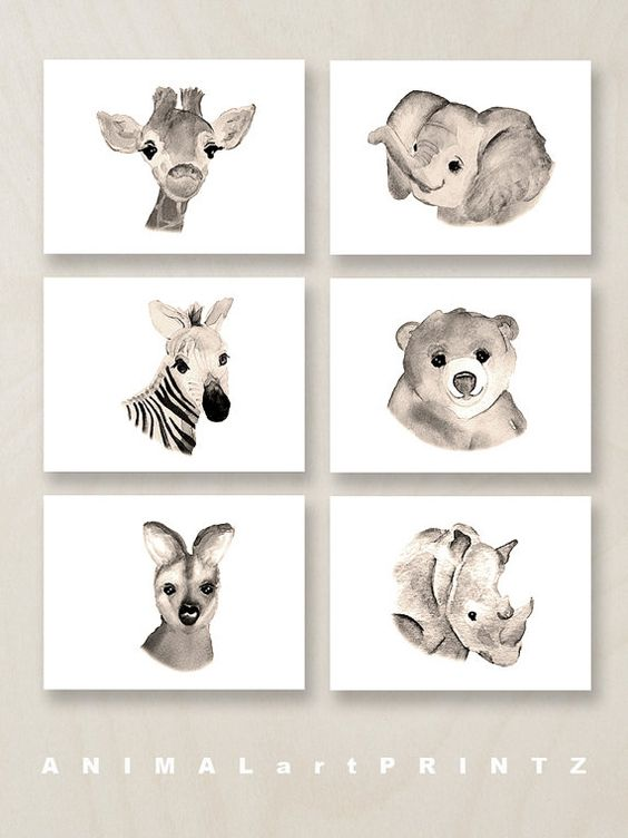 beautiful animal wall prints looking like watercolors