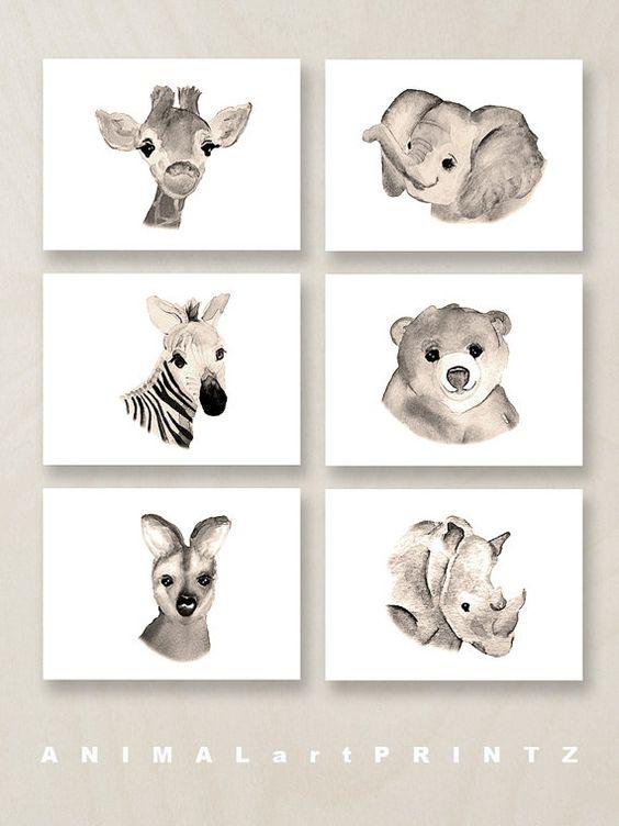 beautiful animal wall prints looking like watercolors