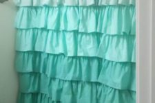 08 ombre ruffled shower curtain from white to teal