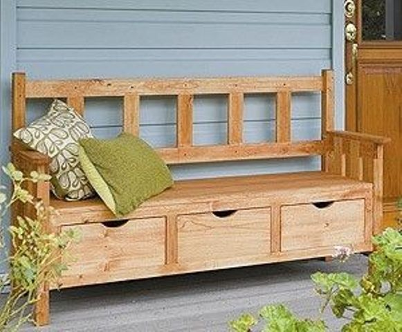 patio bench with 3 drawers