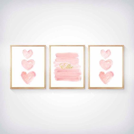 a trio of pastel artworks with hearts and the name of the baby