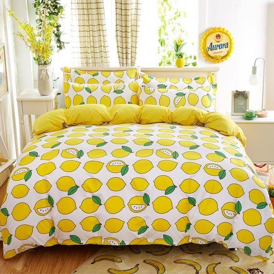 all-lemon print bedding and sunny yellow lining