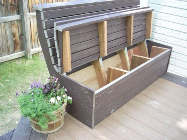 20 smart outdoor storage furniture ideas shelterness for Outdoor furniture benches