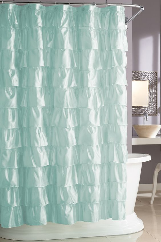 ruffled aqua-colred curtain inspired by sea waves