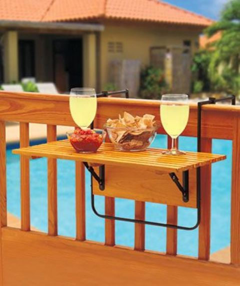 tiny folding drink holder for a balcony or just a banister