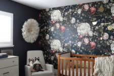 10 a dark floral wallpaper accent wall for a girl's room