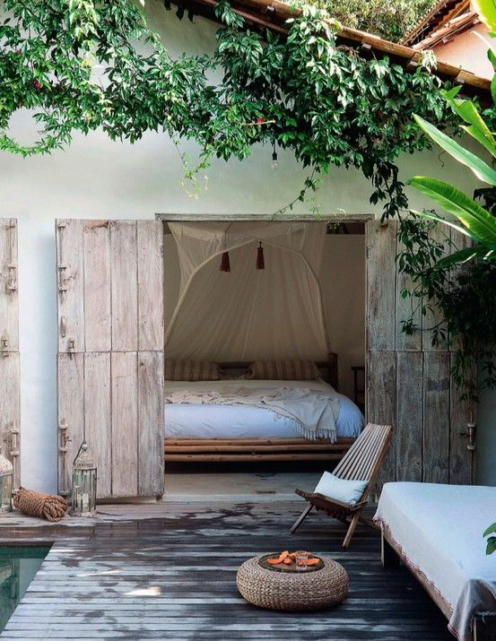 an outdoor bedroom in a pool house will be ideal for relaxing after swimming