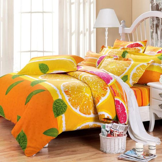 bold orange and grapefruit bedding in fuchsia and orange