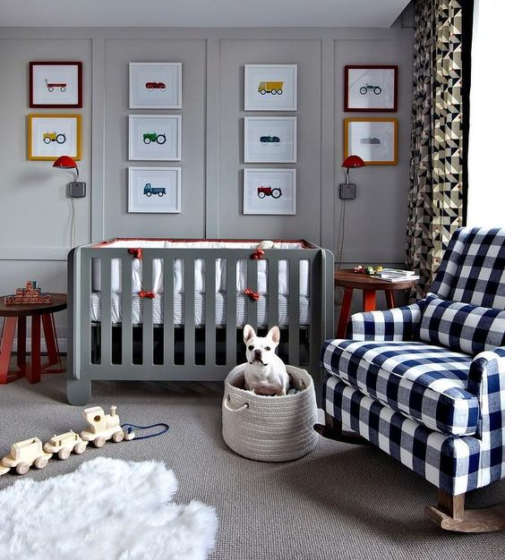 different cars and vehicles in frames for a boy's nursery