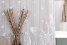 10 neutral shower curtain with white sea creatures painted