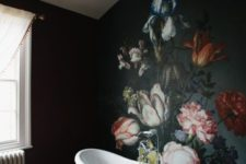 11 a gorgeous moody floral wall looking like an antique painting