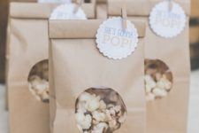11 kraft bags with pop corn are really easy to make and very budget-savvy
