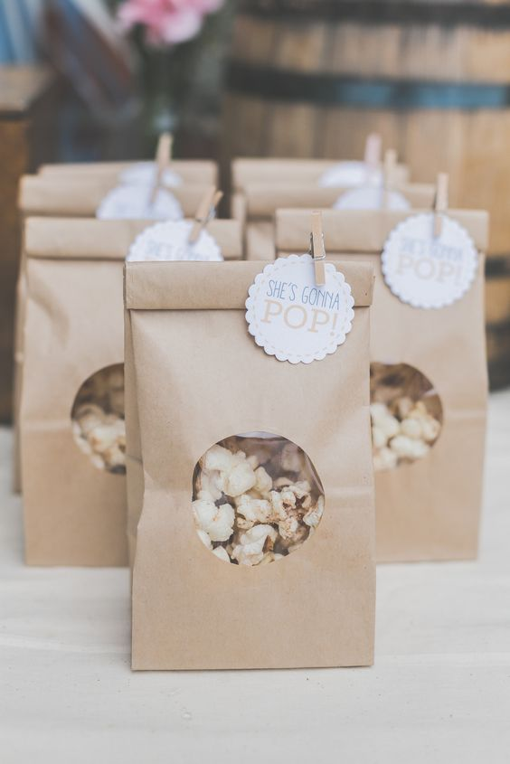 kraft bags with pop corn are really easy to make and very budget-savvy