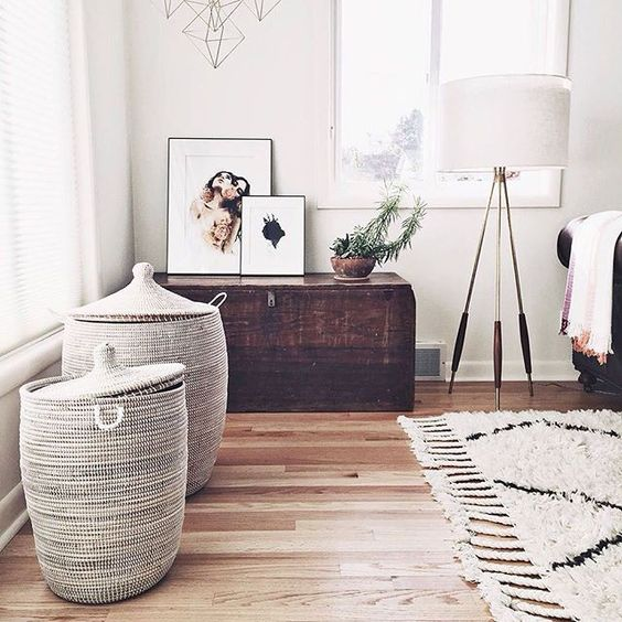 large white baskets with handles and lids for bedroom or closet storage