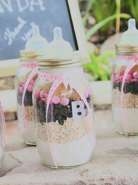 DIY pie mix favors looking like baby's bottles