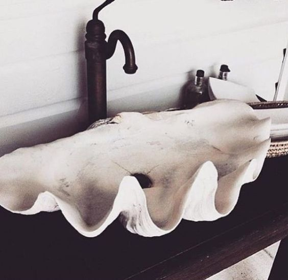 a clam shell sink for a mermaid's bathroom is a unique idea