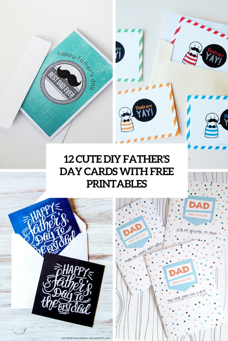 cute diy father's day cards with free printables cover