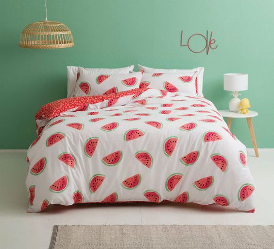 cute watermelon bedding set with a red printed pillow
