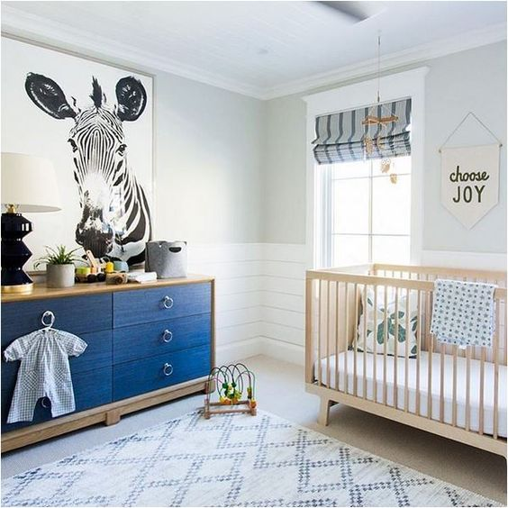 oversized zebra print on the wall is a cool and unusual idea