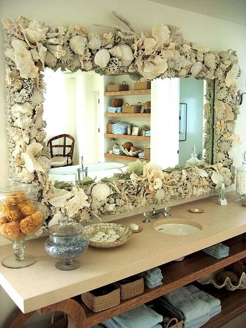 super lush shell and coral bathroom mirror frame wows
