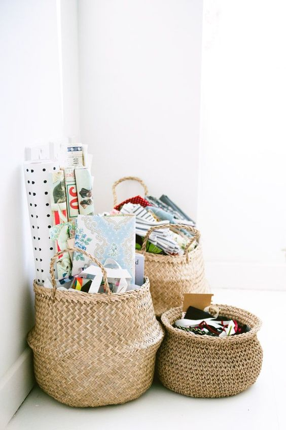 a cluster of belly baskets makes for a stylish storage solution in any kids room or nursery