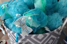 13 blue loofahs are great and very easy for a boy's baby shower