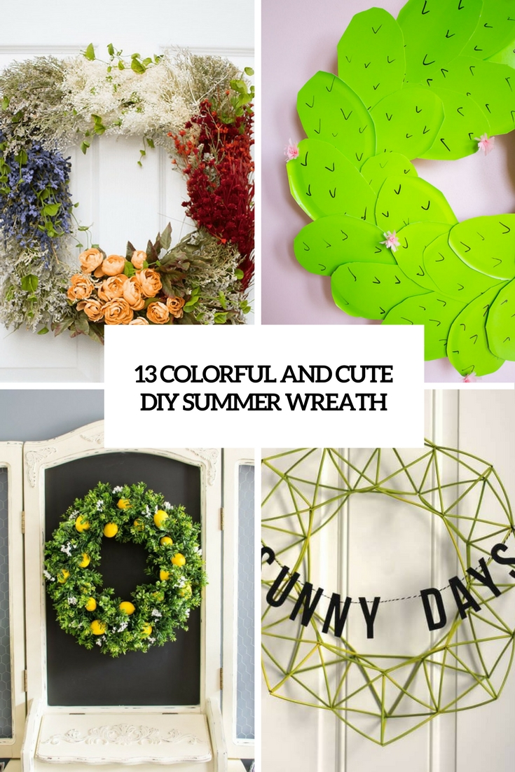 colorful and cute diy summer wreaths cover
