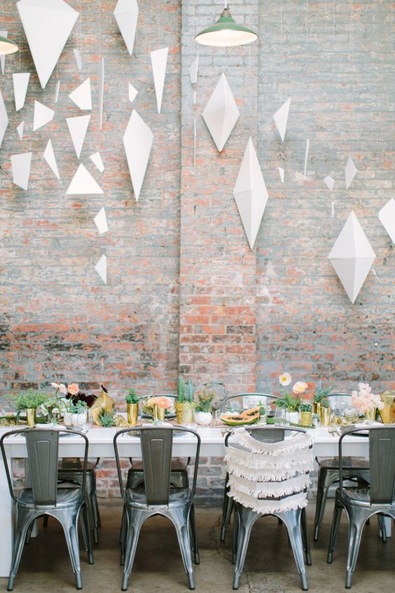 dimensional white pendants for a modern baby shower
