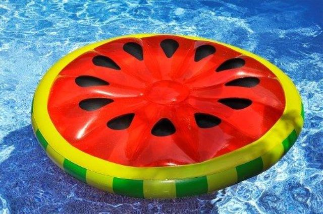 oversized watermelon float can accomodate several people