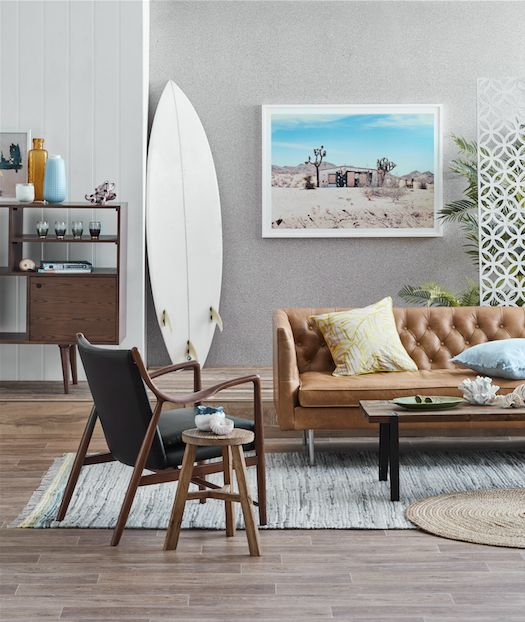 place a surf on the floor and add a pic of your beach retreat