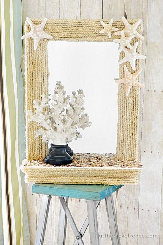 twine covered mirror with starfish decor