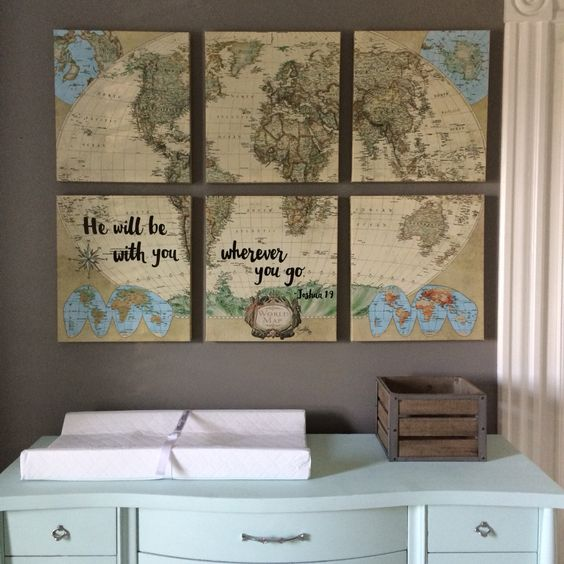 vintage worl map is a gorgeous idea for a travel themed nursery