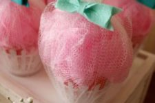 14 loofah and bath salt cupcake favors look super cute for a girl's baby shower