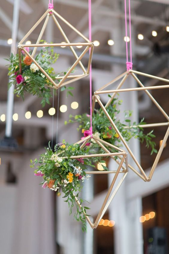 metal copper geometric pendants with fresh greenery and flowers for a girl's shower