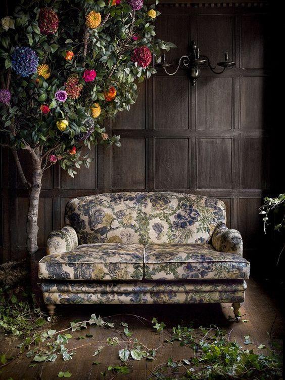 Vintage Moody Blue Flower Print Sofa