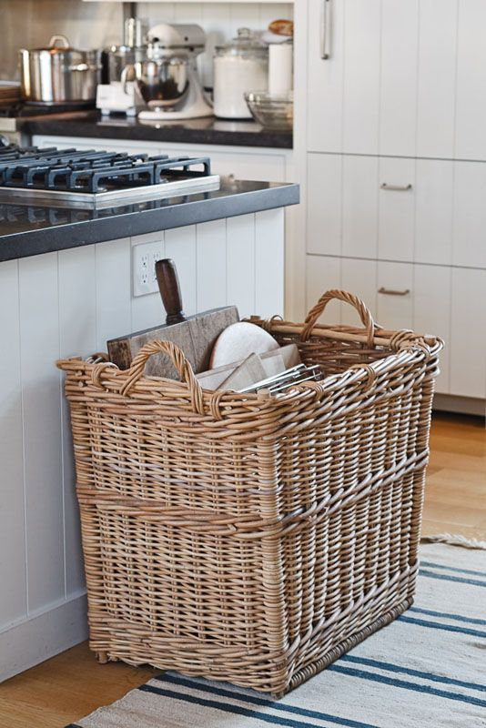 a large basket for trays, baking racks, and cutting boards in the kitchen