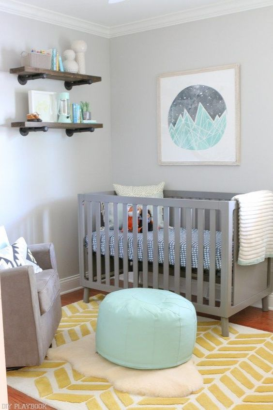 a painted mint and grey wall art is easy to DIY and matches any space in colors