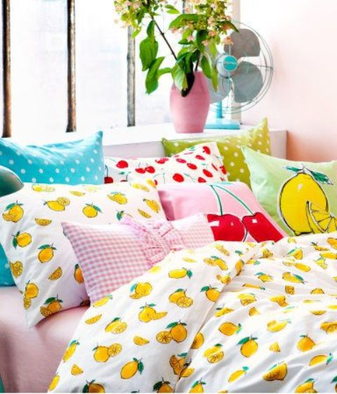 lemon bedding set and cherry and lemon print pillows