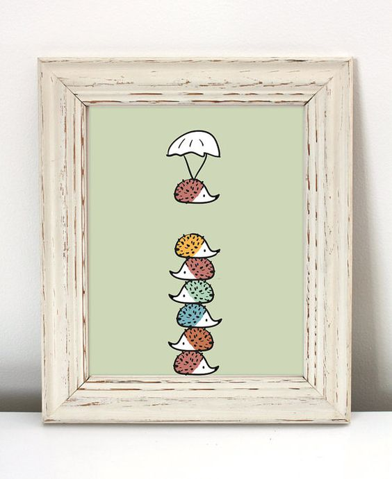 rainbow hedgehog wall art in a shabby chic frame