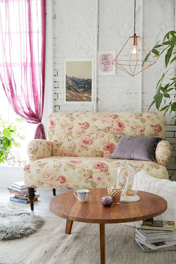 subtle vintage-inspired love seat with a pink rose print