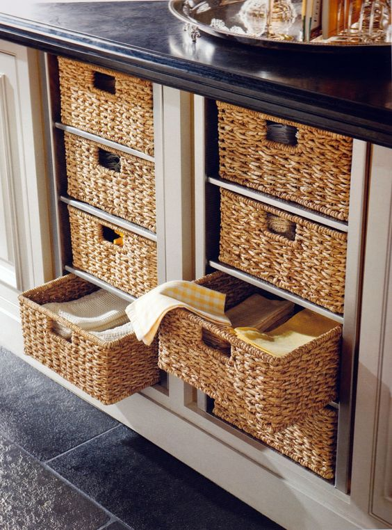 basket drawers are the sweetest idea to give your furniture a cozy cottage feel
