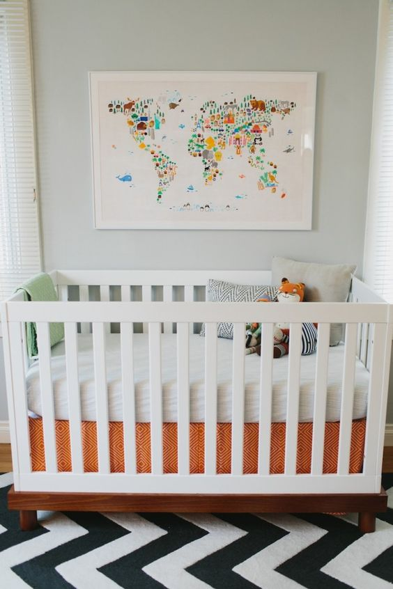 colorful dots world map for a little traveler nursery