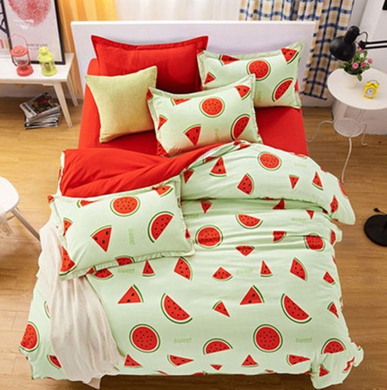light green and red watermelon print bedding set