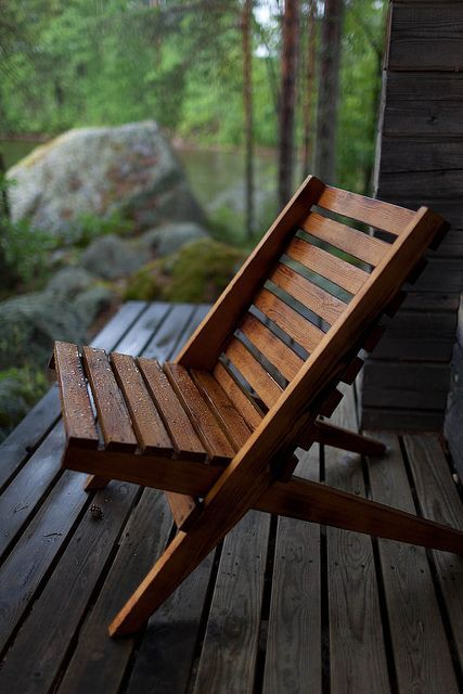 simple stained wooden chair is a common thing for outdoors