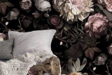 17 chic dark floral wallpaper with blush flowers makes the living room refined