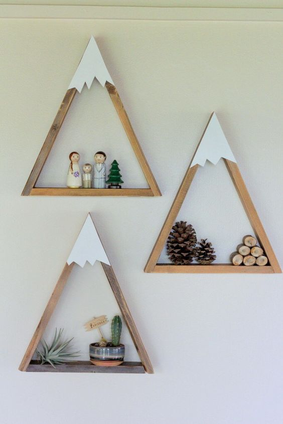 mountain shelves with different stuff to use as a wall art