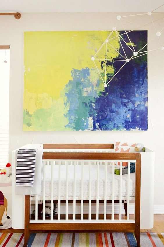 oversized artwork in yellow and blue with a constellation art