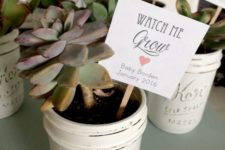 17 plant succulents into whitewashed mason jars for a cute vintage feel