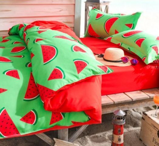 super bold red and green watermelon bedding for summer